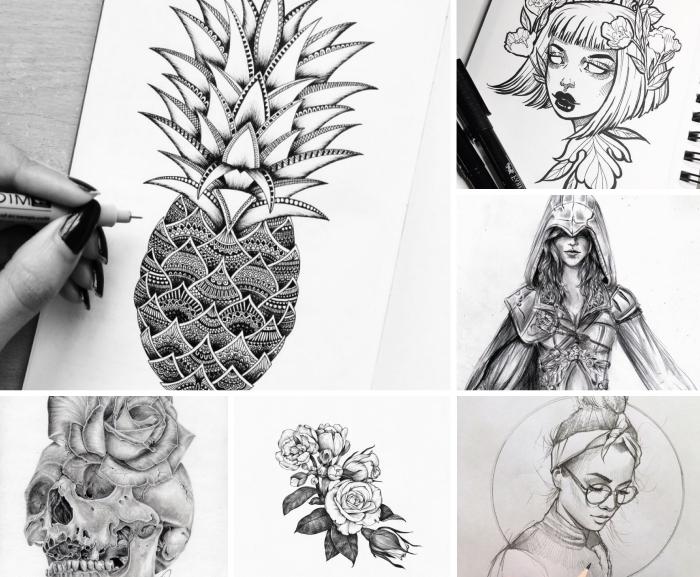 bilder zum zeichnen, totenkopf mit rose, ananas mit geometrischen elementen, assassin frau, schulterllange haare, mädchen mit bandana