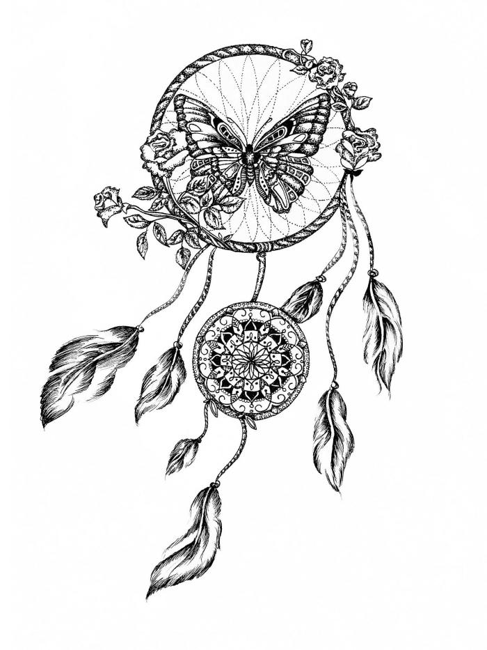 bilder zum zeichnen, traumfänger mit goßer schmetterling, kleine rosen, federn