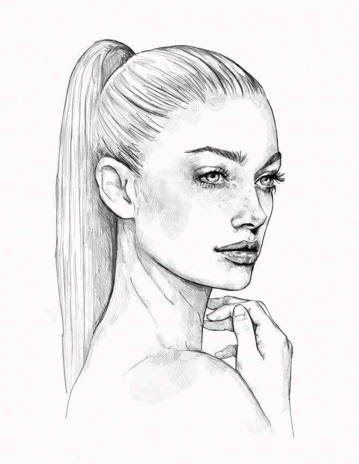 bilder zum zeichnen, frau mit pferdeschwanz frisur, glatte haare, portrait machen