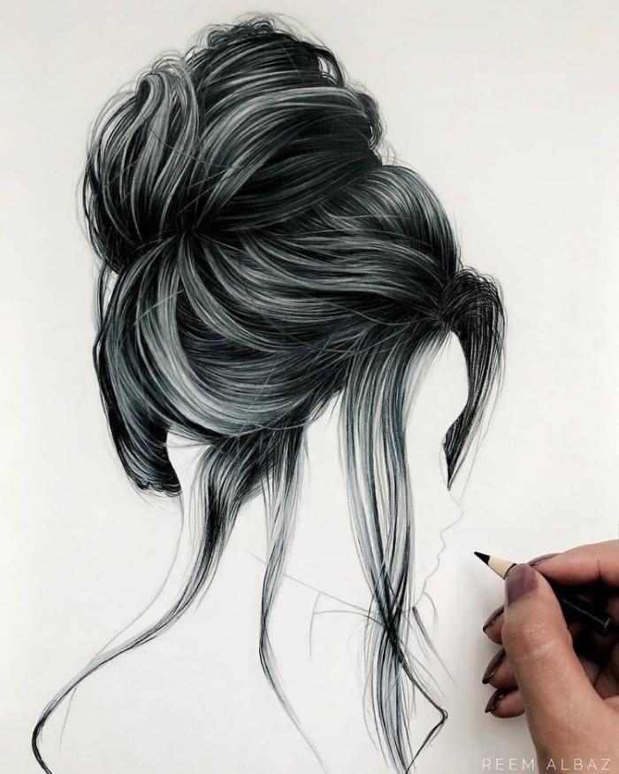 bilder zum zeichnen, wie zeichnet man haare, lockere hochsteckfrisur, strähnen