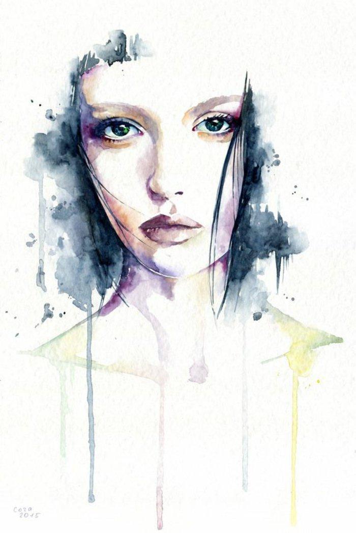 ein Mädchen gezeichnet mit Wasserfarben, blaue Haare, blaue Augen und rosa Lippen, die Farben gießen aus