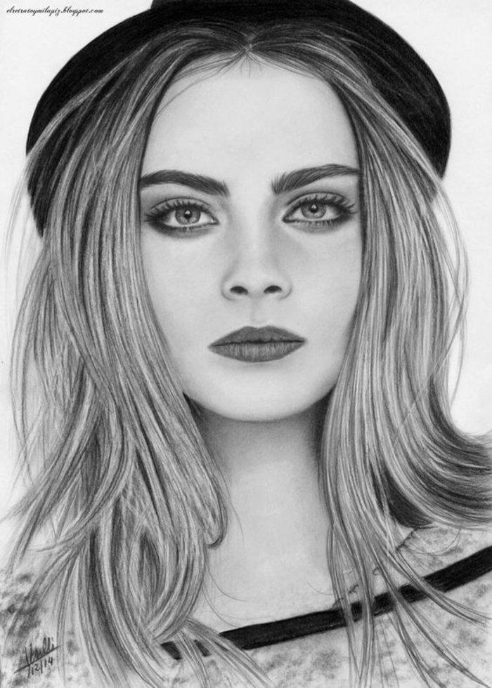 ein modernes Mädchen mit Hut in schwarzer Farbe, die Zeichnung sieht wie Foto aus, Mädchen gezeichnet