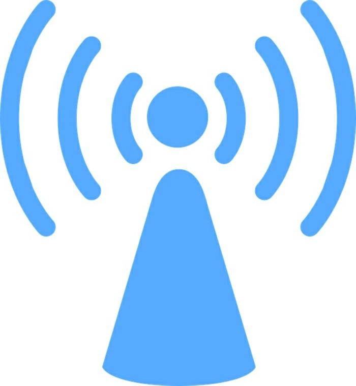 Bluetooth sendet Sygnale überall, Bluetooth Navigation, blaues Logo auf weißem Hintergrund