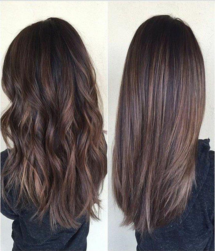 haarfarbe brauntöne und verschiedene stylings, lockige haare oder völlig glatte frisur