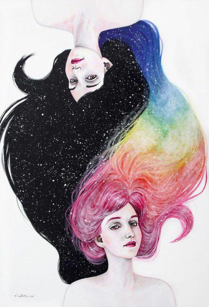 zwei Mädchen gezeichnet mit Haaren wie der nächtlichen Himmel und ein Regenbogen