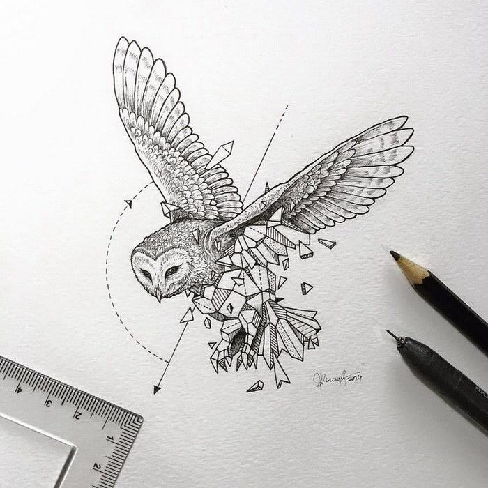 coole zeichnungen, fliegende eule, großes vogel, geometrische motive, pfeil