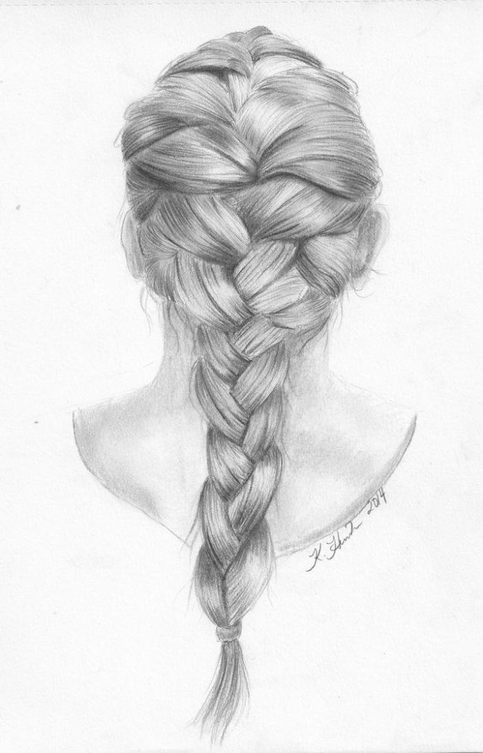 coole zeichnungen, frau zecihnen, lange haare, großer zopf, flechtfrisur