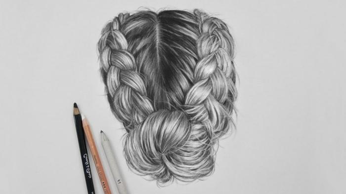 coole zeichnungen, haare zeichnen, zwei große zöpfe, tiefer dutt, flechtfrisur