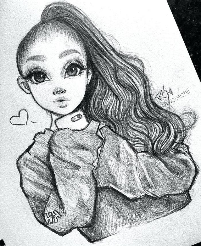coole zeichnungen, ariana grande, anime stil, mädchen mit pferdeschwanz, weite bluse