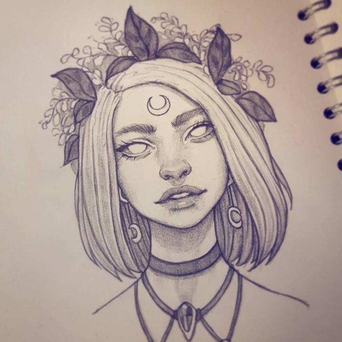 coole zeichnungen, mädchen mit schulterlangen haaren, kupfschmuck mit blumen, halbmond
