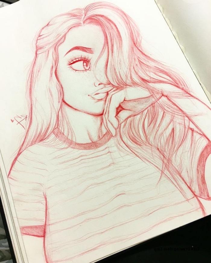 coole zeichnungen, roter bleistift, mädchen mit großen augen und langen haare, gestreiftes t shirt