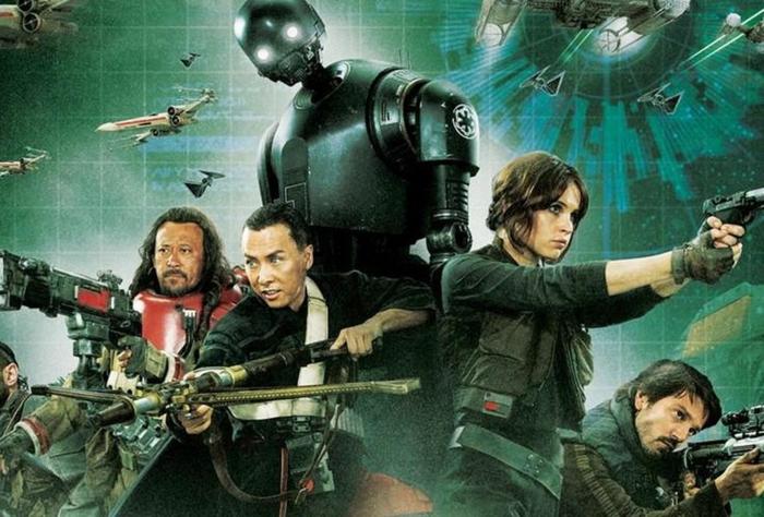 alle Haupthelden von dem Spin Off Rogue One tragen Waffen auf interessanten Hintergrund