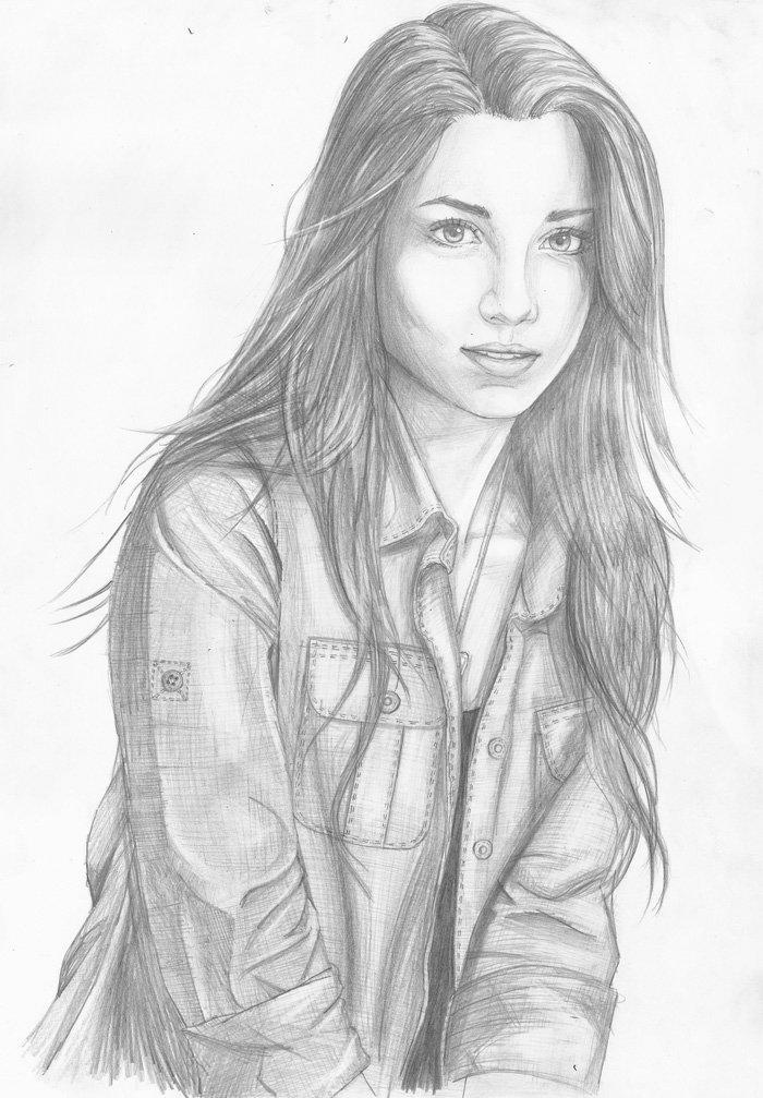 Mädchen Zeichnung, lange schwarze Haare mit Etagenschnitt, Denimhemd, ein hübsches Mädchen