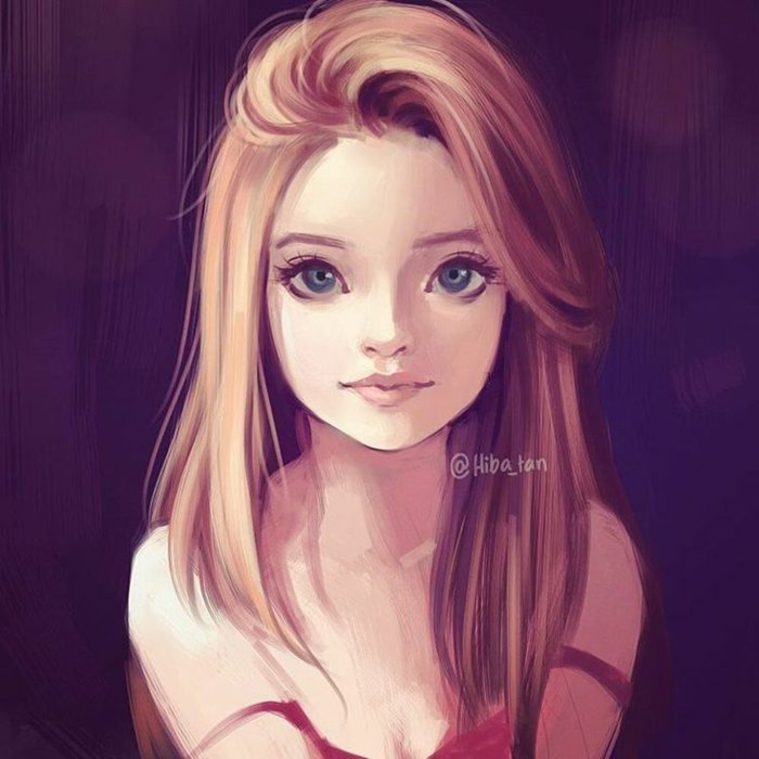 ein rothaariges Mädchen mit großen blauen Augen, eine niedliche Mädchen Zeichnung