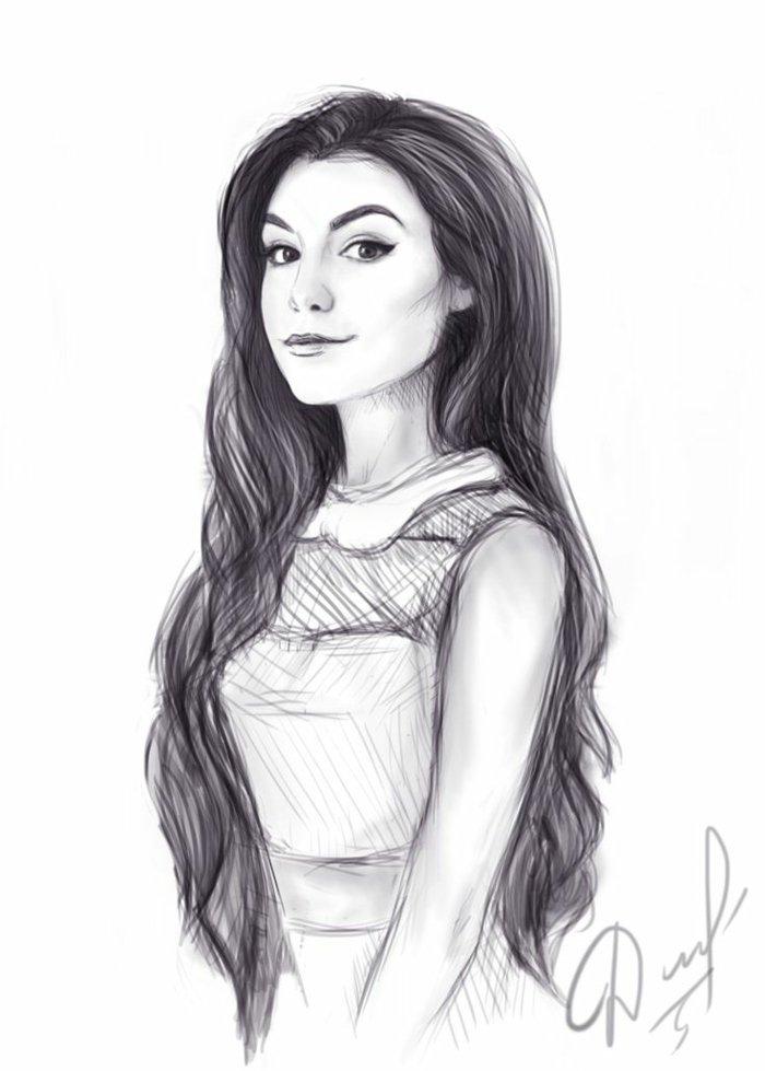 ein schönes Mädchen mit langem, schwarzem Haar und ein weißes Kleid, Mädchen Zeichnung