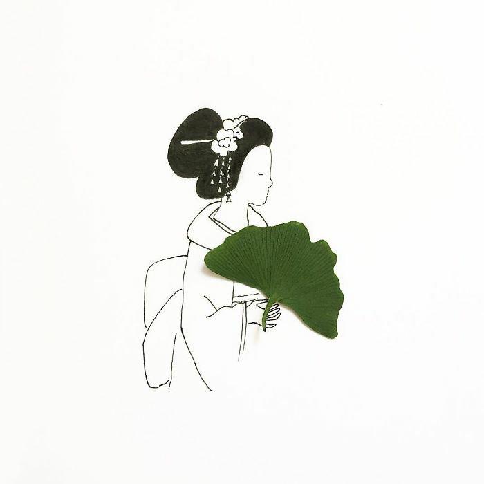 ein Mädchen mit Kimono, schwarze Haare in Hochsteckfrisur, Haarschmuck, ein Blatt, Mädchen Zeichnung