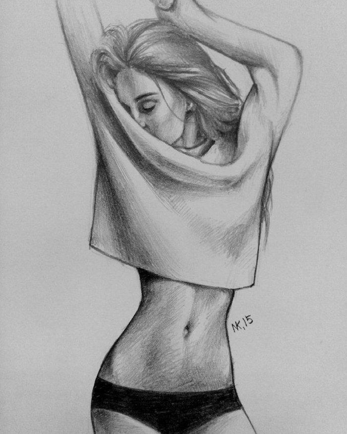 ein Mädchen mit weißer Bluse und schwarzem Höschen, sie tanzt, Mädchen Zeichnung von schlankem Mädchen
