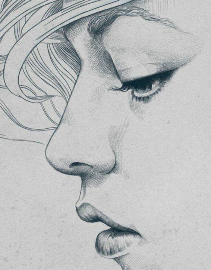 ein Gesicht von Mädchen mit blondem Haar, volle Lippen und große Augen, Mädchen Zeichnung