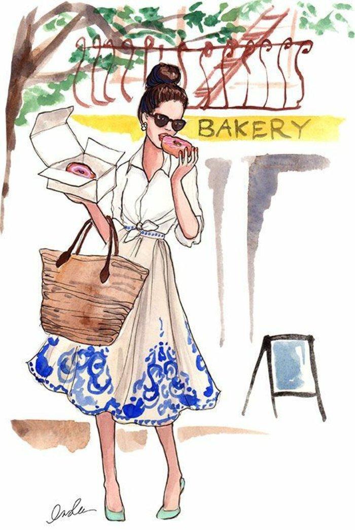 Mädchen zeichnen, eine Frau mit weißem Kleid mit blauen Mustern versehen geht aus der Bäckerei aus