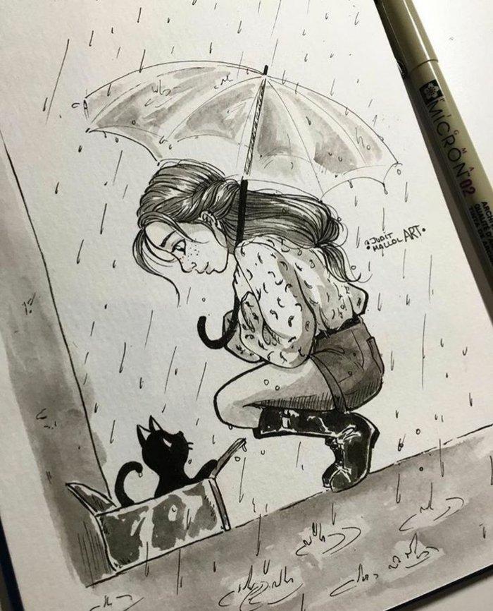 ein Mädchen steht im Regen, sie hat eine verlassene schwarze Katze entdeckt und hat Mitleid mit ihr, Mädchen zeichnen