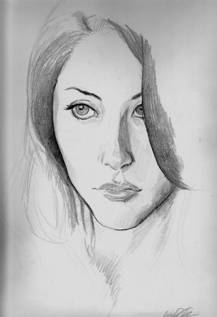 ein schönes Mädchen, große Augen und volle Lippen, das Gesicht von Haar versteckt, Mädchen Zeichnung