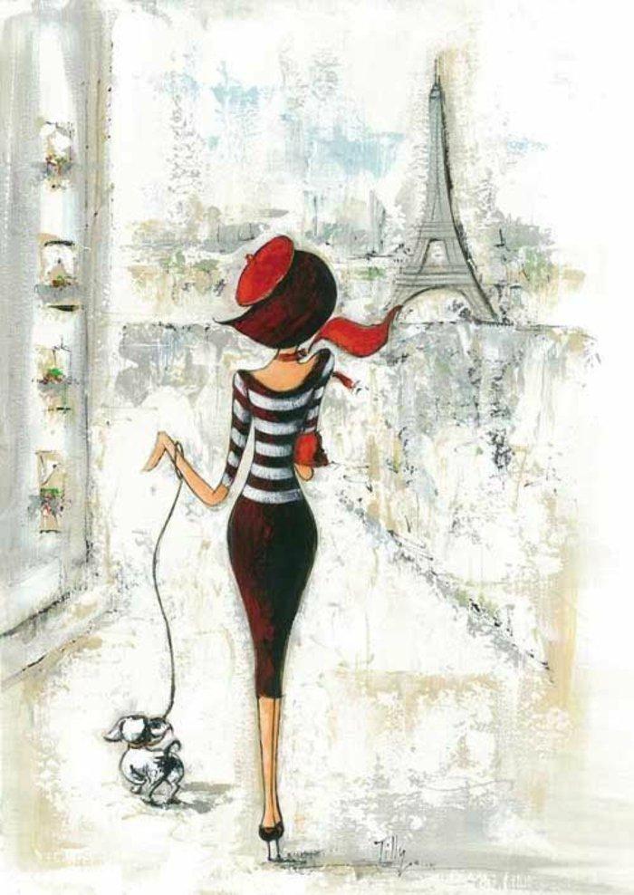 ein Mädchen in gestreifter Bluse und ein brauner Rock, führt ein Hündchen in Paris, Mädchen Zeichnung