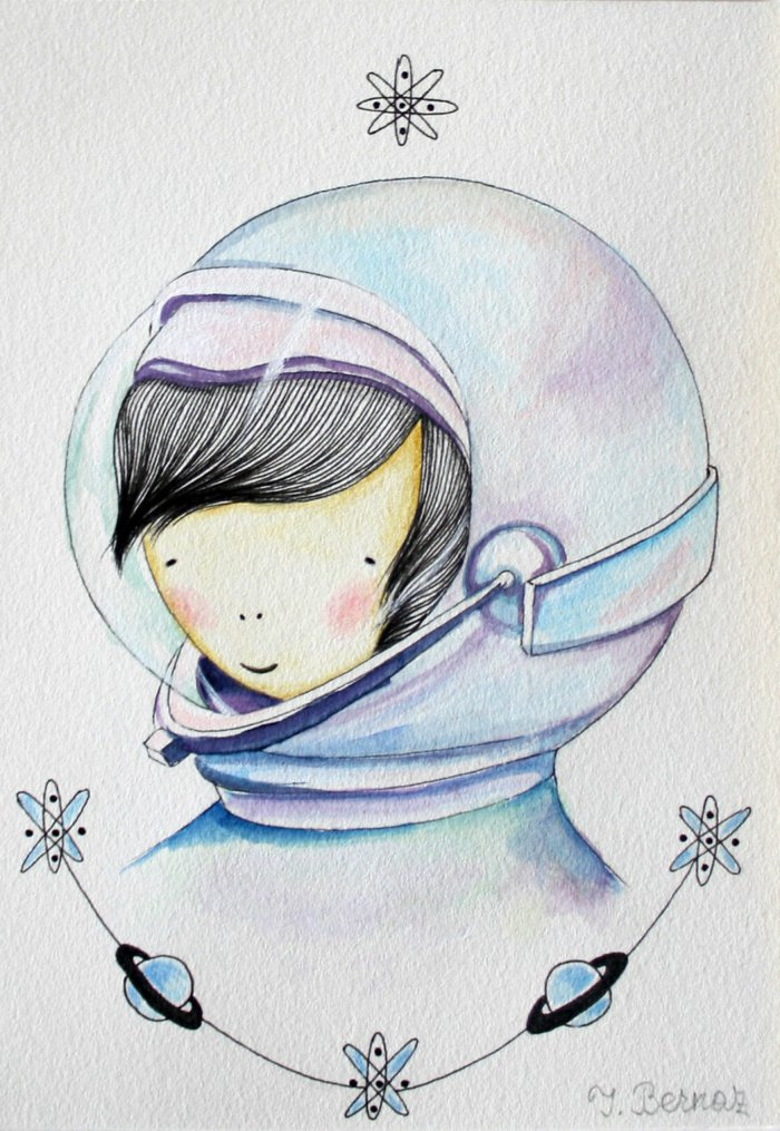 ein Mädchen mit schwarzem Haar, sie ist Austronaut, Mädchen Zeichnung, kleine Planeten