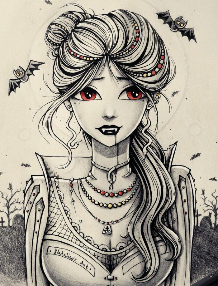 Mädchen Zeichnung von einem Vampire, Mädchen mit roten Augen und schwarzem Lippen