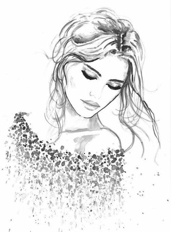 ein Mädchen mit langem, blondem Haar in Hochsteckfrisur, Bluse aus Flecken, Mädchen Zeichnung
