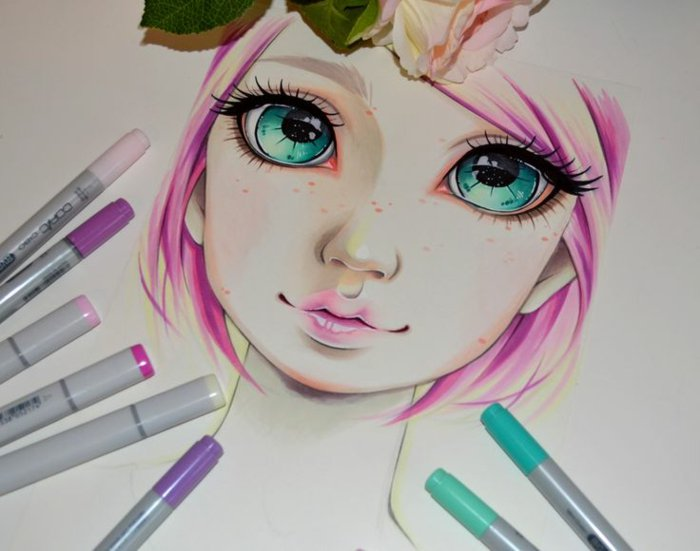 ein Mädchen mit rosa Haare und große blaue Augen und rosa Lippenstift, Mädchen Zeichnung
