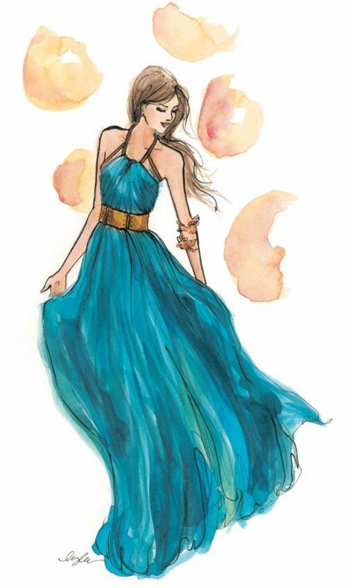ein Mädchen mit einem blauen Kleid und viele Rosen herum, coole Mädchen Bilder, ein goldfarberner Gürtel