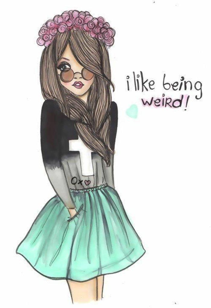 coole Mädchen Bilder, ein Mädchen mit braunem Haare und seltdame Kleidung, rosa Blume im Haar