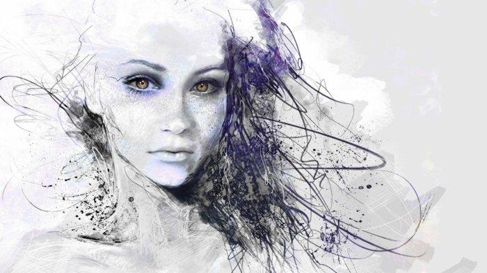 ein Mädchen mit weißem Gesicht und braune Augen, Haar aus Linien, coole Mädchen Bilder