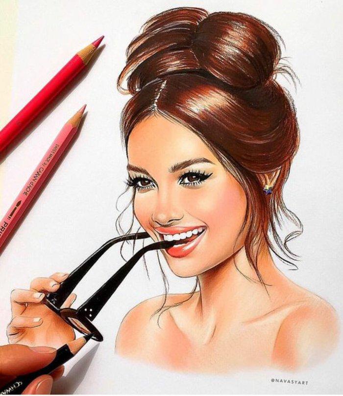 ein Mädchen mit braunem Haar, coole Mädchen Bilder mit einer Brille, braune Augen, roter Lippenstift