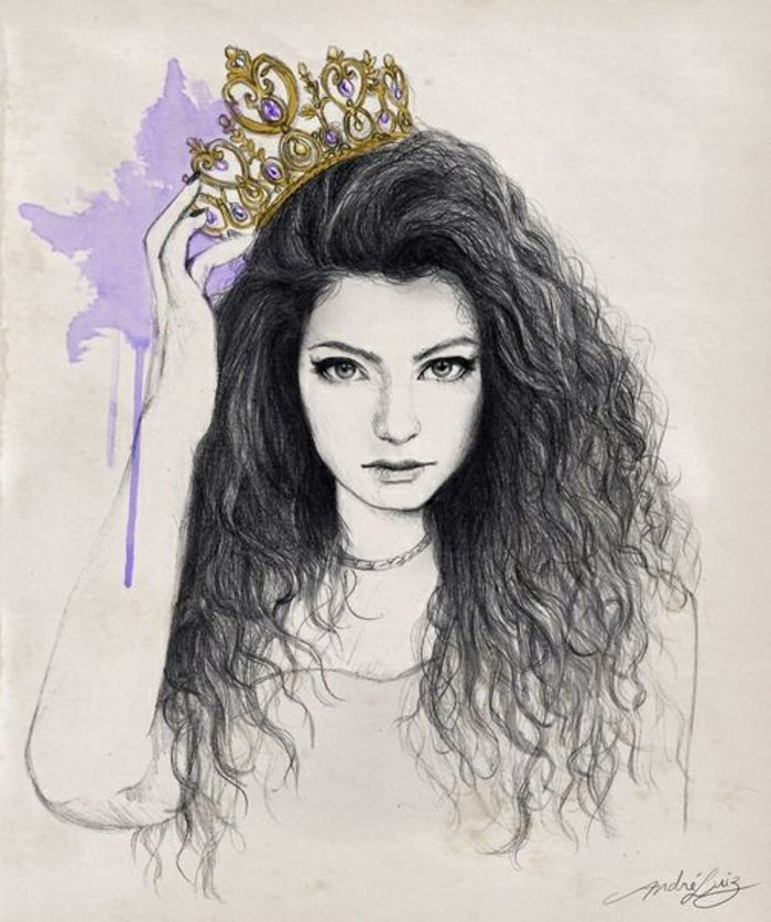 ein Mädchen mit goldener Krone, schwarzes Haar, ein lila Schatten, Kette um Hals, coole Mädchen Bilder