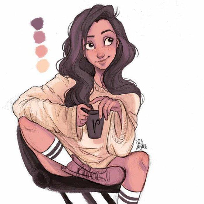 ein schönes Mädchen mit braunem Haar und gelbe Bluse, hohe Schuhe, coole Mädchen Bilder