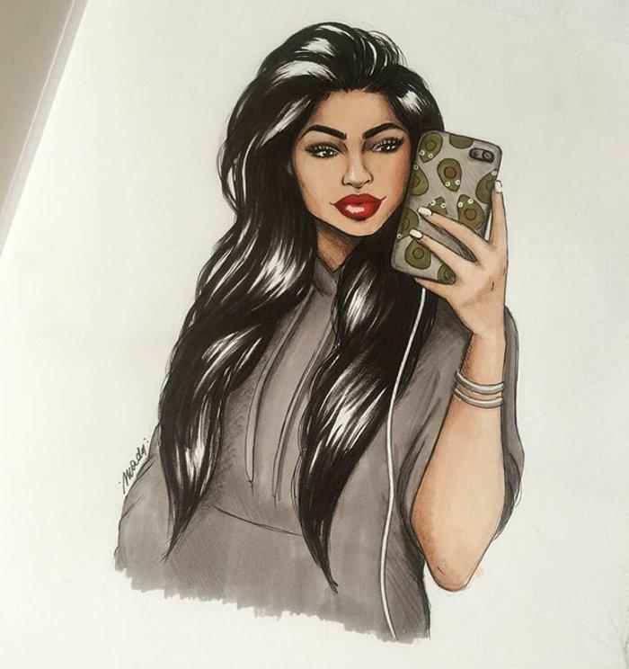 ein Mädchen mit rotem Lippenstift, lange schwarze Haare, Sie fotografiert sich, coole Mädchen Bilder