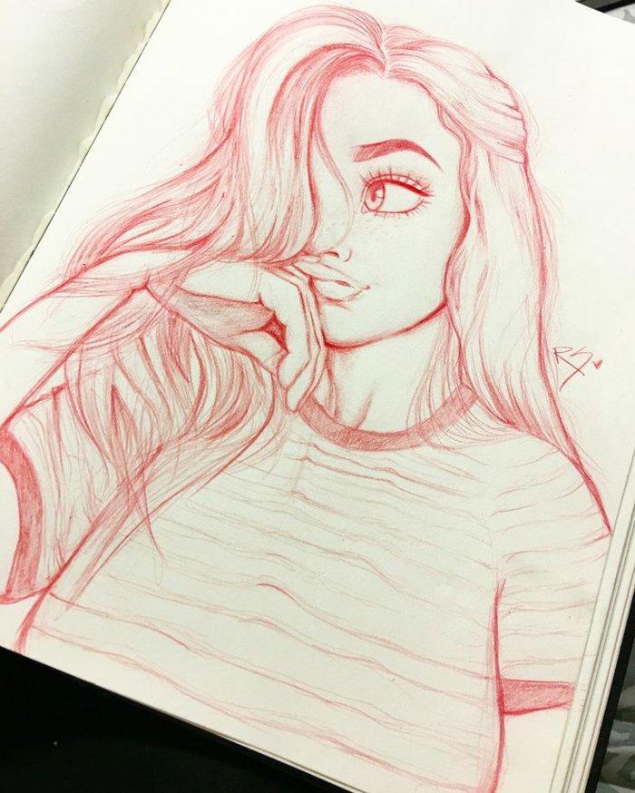 coole Mädchen Bilder, ein Mädchen mit rotem Bleistift gezeichnet, mit großen Augen und vollen Lippen