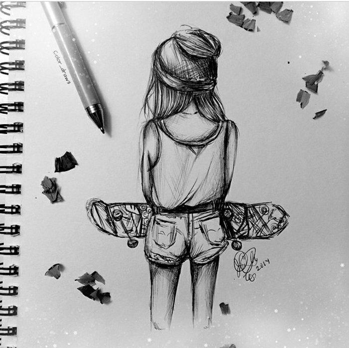 ein kleines Mädchen mit Skateboard, Denimhäuschen und eine weiße Bluse, coole Bilder zeichnen