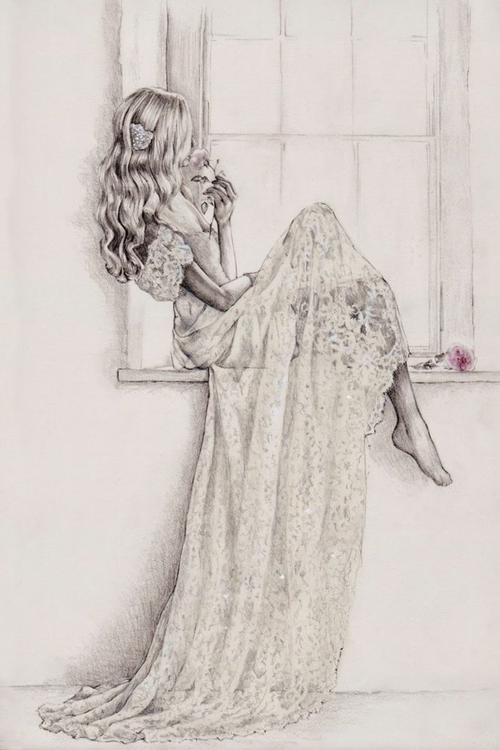 eine Prinzessin mit einem weißen Kleid mit Spitze, lange blonde Haare, coole Bilder zeichnen