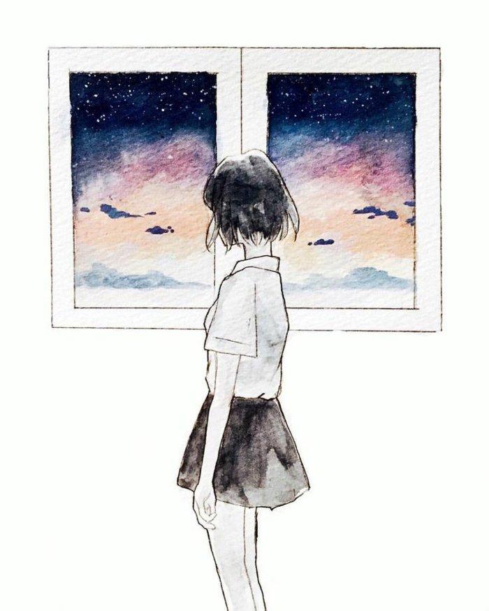 coole Bilder zeichnen, ein Fenster mit dem Sonnenuntergang, ein schlankes Mädchen im Vordergrund