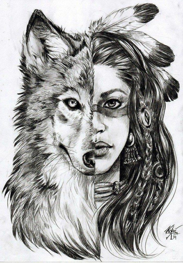 ein Wolf und ein Mädchen, zwei Gesichter von einer jungen Indianerin, coole Bilder zeichnen
