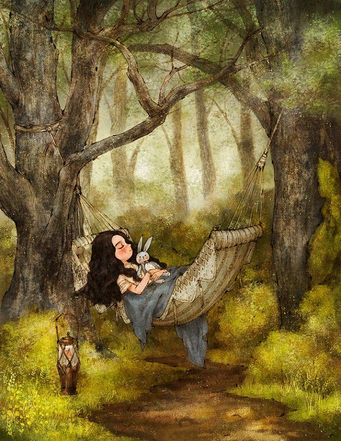 ein Mädchen schläft im Wald und umarmt ein Kuscheltier wie Hase, coole Bilder zeichnen