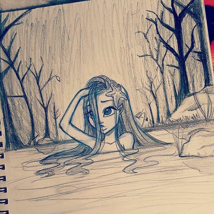 ein Mädchen, das Meerjungfrau mit langem Haar ist, schwimmt in einem Fluss, coole Bilder zeichnen