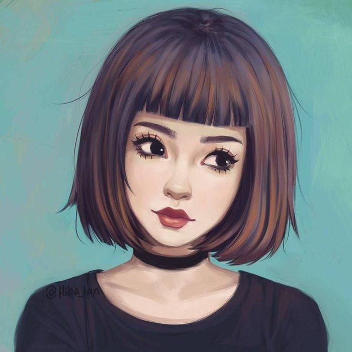 eine kurze Frisur, große schwarze Augen, volle Lippen, eine Kette um das Hals, coole Bilder zeichnen
