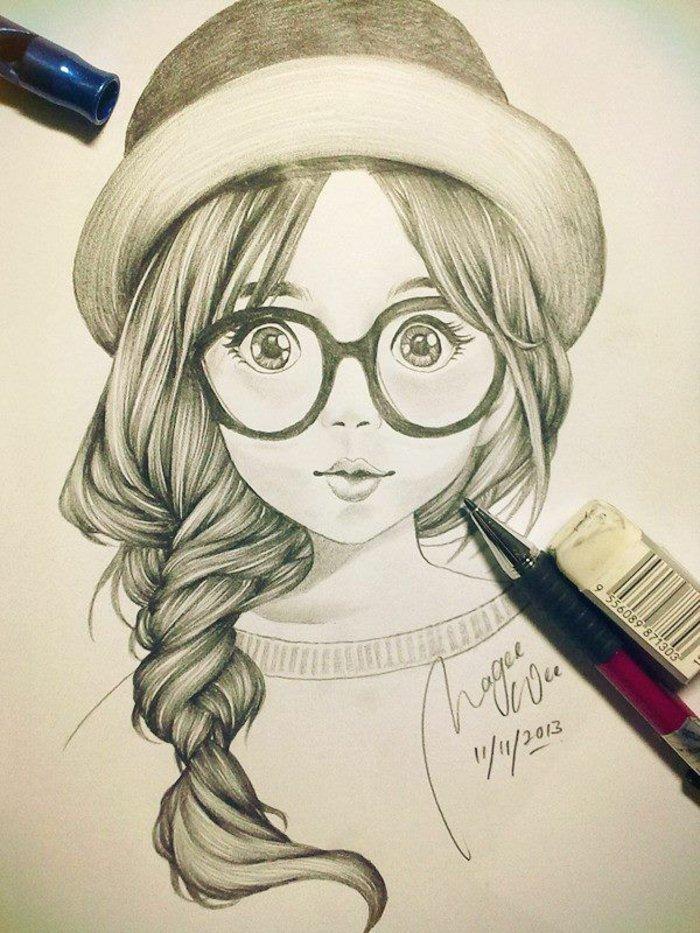 ein Mädchen zeichnen mit Brillen mit großen Rahmen, ein Fischgrät Zopf, ein Hut und Pullover