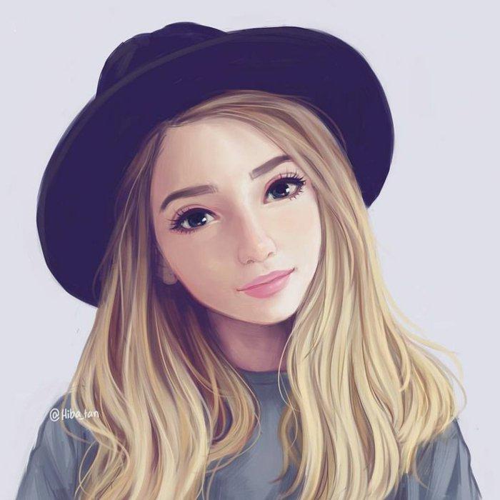 ein blondes Mädchen mit einem schwarzem Hut, große blaue Augen, coole Bilder zeichnen