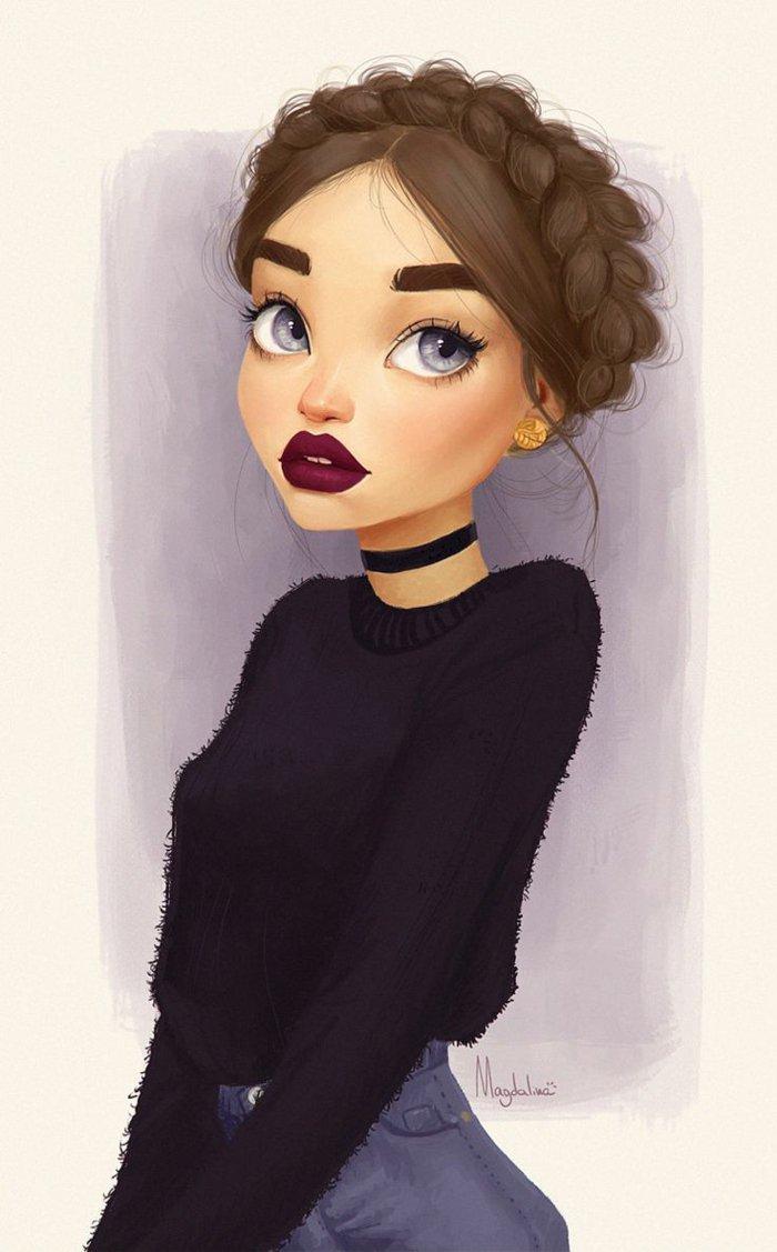 ein schönes Mädchen mit großen blauen Augen und rote Lippen, eine schwarze Bluse und Denim Hosen, schöne Bilder zum Abzeichnen