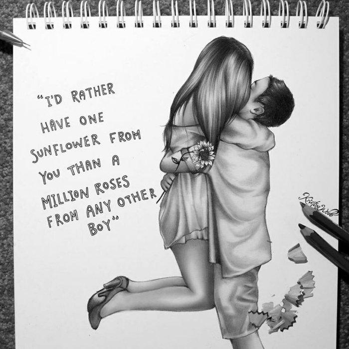 Junge und Mädchen küssen sich, der Junge schenkt eine Sonnenblume, Mädchen zeichnen