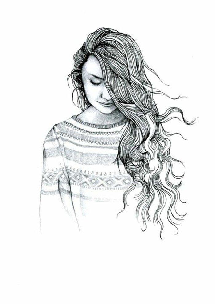 schöne Bilder zum Abzeichnen, ein niedliches Mädchen mit gemustertem Pullover und langem Haar